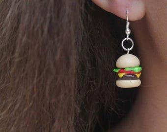 Cheeseburger Miniature Polymer Clay Food Jewlery Fishook Earrings