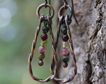 Tourmaline Copper Hoop Earrings, Tourmaline Jewelry, Copper Earrings, Hoop Earrings, Gemstone Earrings, Copper Hoops, Boho Earrings, Hippie
