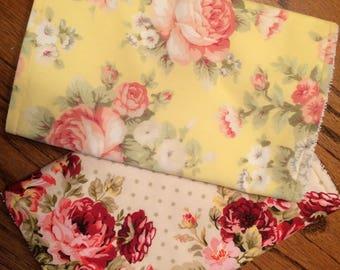 Baby Burp Cloths, Baby Girl Burp Cloths, Set  of 2 Burp Cloths, Vintage Floral Burp Cloths