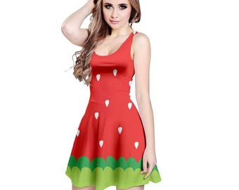 Ichigo Dress - Katamari Dress Katamari Cousins Dress Cosplay Dress Katamari Damacy Skater Dress Plus Size Dress Video Game Dress Ichigo Dipp