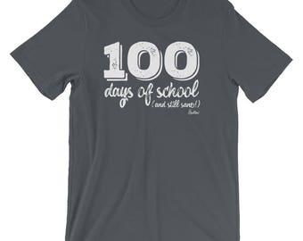 Mens 100 days of school teacher tshirt