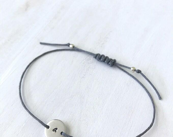 Initial Disk Silver, Custom Disk Silver, Initial Bracelet Silver Custom, Initial Bracelet Silver Personalized, Initial Bracelet for Women