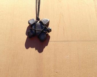 Black ceramic and enamel metal necklace