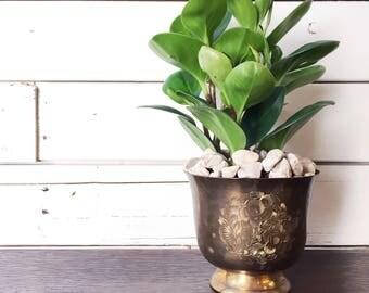Vintage brass pot   brass planter   succulent pot