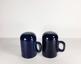 Vintage ceramic blue salt & pepper shakers