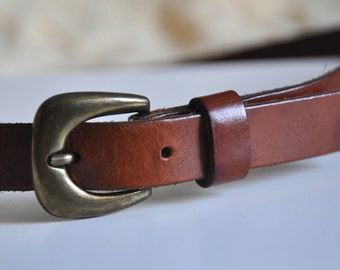 Vintage brown leather belt, thin leather belt, real leather belt, 80cm, Made in Holland