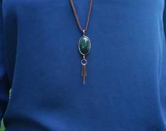 Moss Agate Tassel Necklace