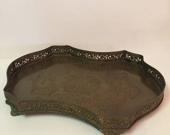 Ornate brass footed tray