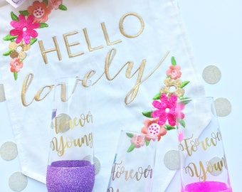 Forever Young~ Champagne Flute~ Stemless~ Princess~ Crown~ Glitter Dipped