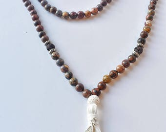 Leopard Jasper Zen Mala Beads with Brown and White Diffusing Lava Stones