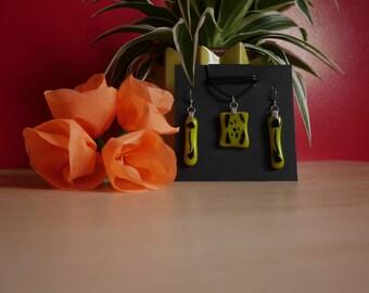 Yellow black fused glass jewelry set