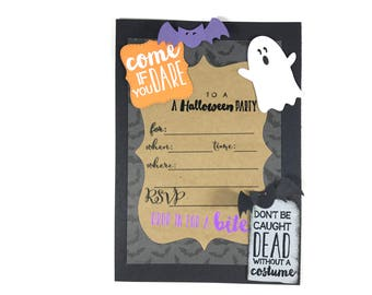 Halloween Invitations - Come If You Dare To A Halloween Party invites - Set Of 4/Set Of 8 -  Birthday - Ghost Bats - Costume Celebration