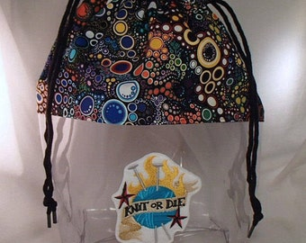 Knitting Crochet Drawstring Clear Embroidered Project Bag, Large. Clear Vinyl Knitting Bag.