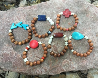 Wooden Beaded Bracelets with Accents