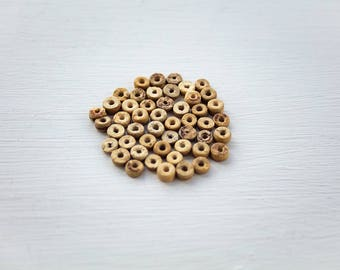 TAN DISC BEADS | Warm wooden beads | Yellow brown beads | Reclaimed vintage beads | Wood bead lot | Tribal african style | Jewellery supply