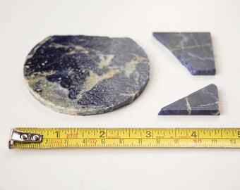 3x Sodalite offcut pieces Semi precious slabs Lapidary off cut Craft supplies Raw materials Mineral specimen stone Jewelry jewellery making