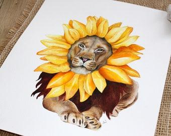 Lion painting, lion art, lion watercolor, lion watercolour, watercolor painting, spiritual wall art, nursery decor, spiritual painting