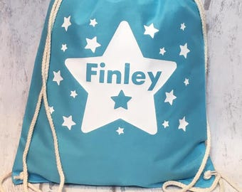 School Bag, Gym Bag, School Gym Bag, Drawstring Bag, Boys Bag, Pe Bag, Stars, Personalised Bag, School Pe Bag, Starting School, Nursery Bag
