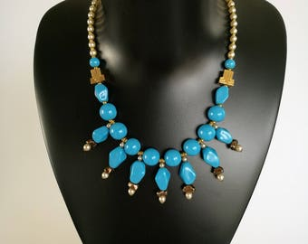 SALE! LANVIN Turquoise and faux Pearl Necklace / Collier