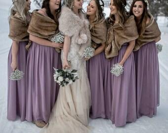Pink Blush / Light Brown faux fur bridal wrap, Wedding Fur shrug, Fur Wrap, Bridal Faux FurStoleFur Shawl Cape,wedding faux fur wrap