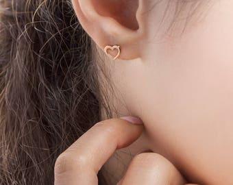 Rose Gold Heart Earrings, 14K Gold Earrings, Rose Gold, Tiny Heart Studs, Gold Stud Earrings, Love Earrings, Gift For Her, Dainty Earrings