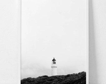 Lighthouse,Lighthouse print,Black and white print,Monochrome print,Beach Print,Landscape print,Digital download,Printable
