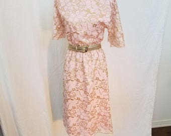 1970s Pink and Gold Lace Dress. 80s Dress. Size Medium