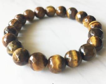 Tigers Eye Bracelet, Tigers Eye, Crystal Bracelet, Gemstone Beaded Bracelet, Tigers Eye Jewelry, Beaded Bracelets, 8mm Bracelet, Faceted