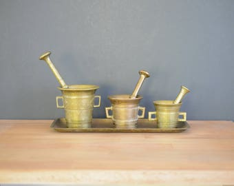 Mortar and Pestle, brass, set, malm, skultuna, no 3, swedish, muddle