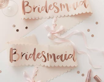 Pink & Rose Gold Bridesmaid Sashes