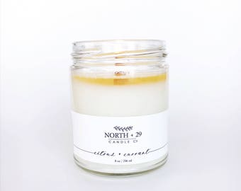 CITRUS + CURRANT Scented Candle - 8 oz Soy Candle - Woodwick Candle - Crackling Candle - Citrus candle - Currant candle - Spa candle