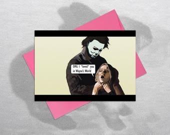 Funny Halloween Card, Funny Birthday Card, Halloween Card, Inappropriate Birthday Cards, Michael Myers, Mike Myers, Rude Birthday Card