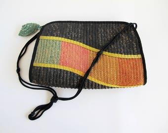 Vintage Straw Bag, 1980s Straw Purse