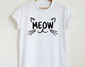 MEOW T-shirt, cute cat shirt, unisex women's graphic tee, funny cat lover gift shirt, hipster meow t shirt