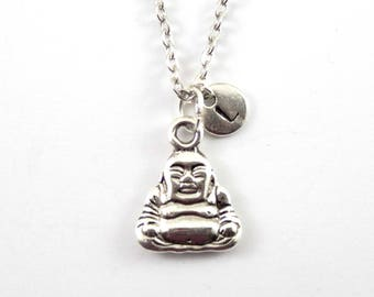 BUDDHA charm necklace, Buddha charm, personalized necklace, initial necklace, initial handstamped, personalized jewel, initial jewelry
