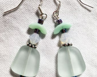 Mint Green Boho Beach Glass Earrings