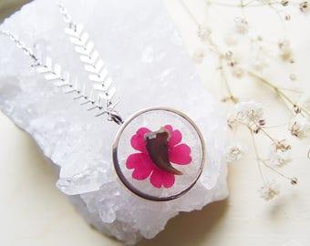 Silver Fox Claw + Pressed Flower Laurel Pendant