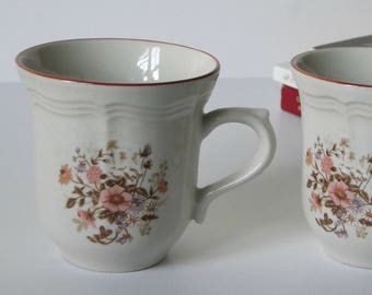 Set of Two, Antique Array, Brick Oven Stoneware, Coffee Mugs, Floral