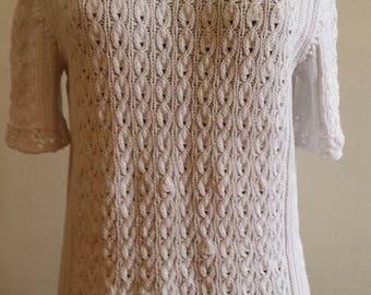 Gift for her. White blouse . Summer Blouse. Blouse Knitted. Elegant Blouse. Handmade . Summer knitted blouse.