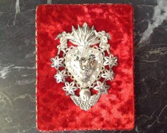 Antique Italian Ex voto Heart Milagro Votive Heart