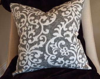 "Custom White Damask Square Decorative Throw Pillow Cover with Gray background 18""x18"",Reversible with zip closures"