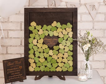 Rustic Wedding Guest Book Alternative Custom Wedding Guestbook Drop Box Guest Book ideas Heart Drop Top Box Wood Guest Book Alternative