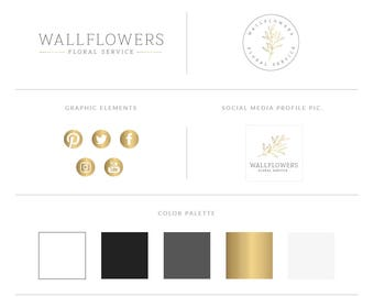 Gold Logo Design Branding Package,Photography Logo Watermark -  Gold Foil Logo,Elegant Script Style Brand Kit,Gold Brand Set,Branding Kit