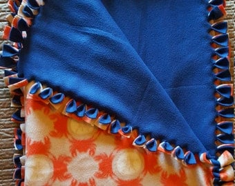 Nautical Blanket, Coastal, Tie Blanket, Sand Dollar, Ocean Crab, Christmas Gift, Throw
