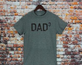 DAD 3 T Shirt- Gift for dad, men's shirt, husband gift, Dad cubed, Dad Shirt, Mens tee.