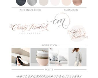 Rose Gold Logo Branding Package, Grey Watercolor Logo Design Marble Logo Branding Kit, Elegant Premade Logo Copper Logo Kit Calligraphy Logo