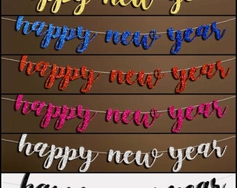 Happy New Year Glitter Banner, New Year's Eve Lettering Bunting, happy new year Hanging Garland Party Décor, Christmas Banner, New Year Sign