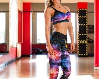 Women's Sports Bra - Bra / Galaxy / Top w/Pads / Hot Yoga / Pole Dance / Twerk / Fitness / Dance / Gym / Sportswear /Activewear