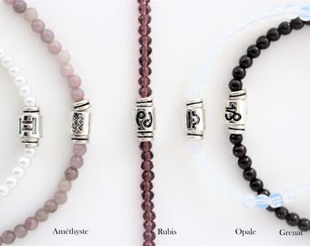 Bracelet with astrological sign and birthstone sterling silver gemstone semi-precious stones personalized gift