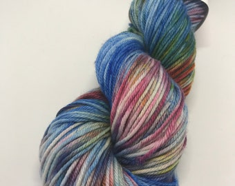 Hand Dyed Yarn Oddball Blue with Multi Rainbow flecks 100g/225m DK Double Knitting 75/25% Superwash Merino/Nylon Mulesing Free